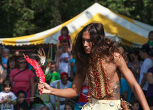 Native American Indian Festival Tribal Dancing. This handsome Indian (Native American) man used tribal dancing to make history come alive at the Virginia Indian Stock Photos