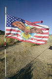 Native American Indian flag blows in wind on Chumash Indian land on highway 33, near Cuyama California Royalty Free Stock Photos