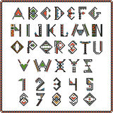 Native american indian font or mexican alphabet with numbers. Figure ethnic traditional african. Vector illustration royalty free illustration