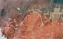 Native American Indian Fremont Petroglyphs Capital Reef National Park. Native American Indian Fremont Petroglyphs Sandstone Mountain Capitol Reef National Park Stock Images