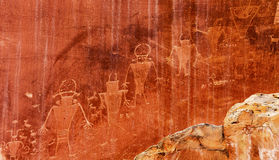 Native American Indian Fremont Petroglyphs Capital Reef National Park Royalty Free Stock Images