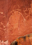 Native American Indian Fremont Petroglyphs Capital Reef National Park. Native American Indian Fremont Petroglyphs Sandstone Mountain Capitol Reef National Park Stock Photography