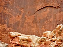 Native American Indian Fremont Petroglyphs Capital Reef National Park Utah. Native American Indian Fremont Petroglyphs on Sandstone Mountain Capitol Reef Stock Photography