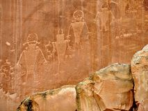 Native American Indian Fremont Petroglyphs Capital Reef National Park Utah. Native American Indian Fremont Petroglyphs on Sandstone Mountain Capitol Reef Royalty Free Stock Photography