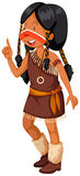 Native American Indian girl in brown costume Royalty Free Stock Photos