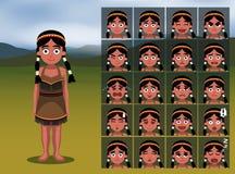 Native American Indian Girl Cartoon Emotion faces Vector Illustration Stock Photo