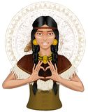 Native-American Indian girl girl showing heart by  Stock Photo
