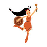 Native american indian girl in traditional costume dancing with tambourine  Illustration Royalty Free Stock Image