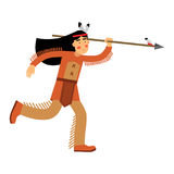 Native american indian girl in traditional costume running with spear  Illustration. Isolated on a white background Stock Image