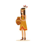 Native american indian girl in traditional indian dress holding clay jug vector Illustration. Isolated on a white background Stock Photo
