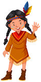 Native american indian girl waving hello Royalty Free Stock Images
