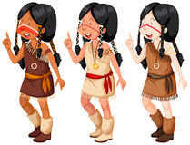 Native american indian girls in traditional costume Royalty Free Stock Images