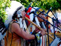 Native American Indian  group play music Royalty Free Stock Images