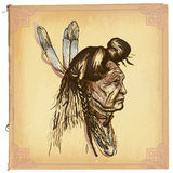 Native American, Indian - An hand drawn vector sketch, freehand Stock Photo