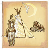 Native American, Indian - An hand drawn vector sketch, freehand Royalty Free Stock Photos