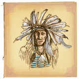 Native American, Indian - An hand drawn vector sketch, freehand Royalty Free Stock Photography