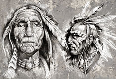 Native american indian head, chiefs, retro style Stock Photography