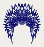 Native american indian headdress. Doodle style Royalty Free Stock Photography