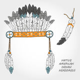 Native American indian headdress. With feathers Royalty Free Stock Photos