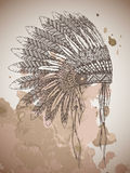 Native American indian headdress with feathers in a sketch style. Hand drawn vector illustration Royalty Free Stock Images