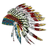 Native American indian headdress with feathers in a sketch style. For Thanksgiving day. Vector illustration. Stock Image