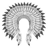 Native american indian headdress with feathers. Vector war bonnet headdress Royalty Free Stock Photos