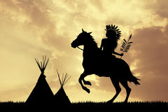 Native American Indian on horseback at sunset. Illustration of Native American Indian at sunset Royalty Free Stock Photography