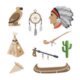 Native american indian icons. Native american symbol icons. Editable vector set Royalty Free Stock Photography