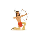 Native american indian kneeling and shooting a bow vector Illustration. Isolated on a white background Royalty Free Stock Images