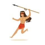 Native american indian in loincloth running with spear vector Illustration. Isolated on a white background Royalty Free Stock Photos