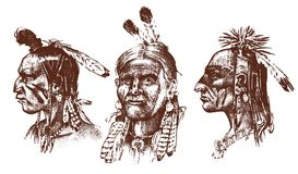 Native American Indian man with headdress and feathers. North or west head mascot of Sioux. traditional culture. half. Face, engraved hand drawn realistic in Stock Photography