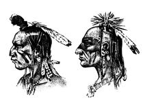 Native American Indian man with headdress and feathers. North or west head mascot of Sioux. traditional culture. half. Face, engraved hand drawn realistic in Royalty Free Stock Image