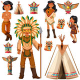 Native American Indian people and tepee Royalty Free Stock Photos