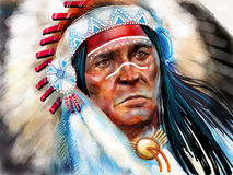 Native american. Indian portrait painting Stock Images