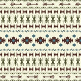 Native American Indian seamless pattern ethnic traditional geometric art with retro vintage design elements and arrows Aztec Inca Stock Images