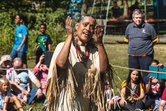Native American Indian Storyteller. This native American Indian storyteller participated in the Annual Virginia Indian Festival in Riverbend Park in Great Falls Royalty Free Stock Images