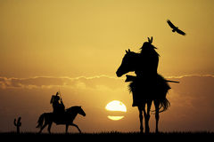 Native American Indian at sunset Stock Photography