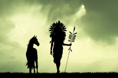 Native American Indian at sunset. Illustration of Native American Indian at sunset Stock Image