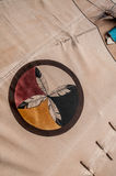 Native American Indian Symbol / Circle of Feathers. Native American Symbol / Circle of Feathers found painted on the outside of a Native American Indians tent royalty free stock photo