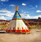 Native American Indian Tent Teepee. Native American Indian tent - teepee, decorated with ornaments in desert landscape. USA stock images