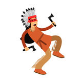 Native american indian in traditional costume dancing with two tomahawks  Illustration Royalty Free Stock Photo