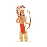 Native american indian in traditional indian clothing with a bow vector Illustration Royalty Free Stock Photo