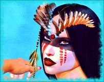 Native American Indian Woman in our fantasy digital art style. Our fantasy digital artwork of a gorgeous Native American Indian Woman. Her gaze inhaled the Royalty Free Stock Image