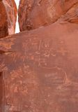 Native American Indian writing on Rock Stock Photo