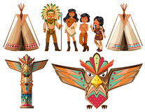 Native american indians and tepee Stock Photos