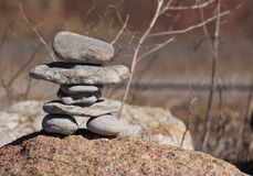 A Native American Inukshuk statue Royalty Free Stock Photos