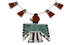 Native American Jewelry, Santo Domingo Turquoise and Coral Thunderbird and Tag Necklace. Stock Image