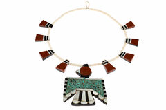 Native American Jewelry, Santo Domingo Turquoise and Coral Thunderbird and Tag Necklace. Stock Photos