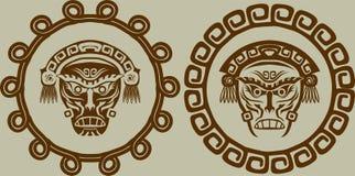 Native American masks. In circular pattern stock illustration