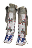 Native American moccasins isolated. Native American Indian beaded moccasins with leggings, from the Lakota Sioux Stock Photos